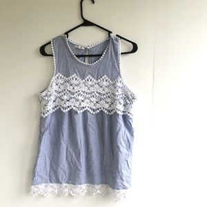 Maurices Sleeveless Lace Trim  Blouse XL Blue